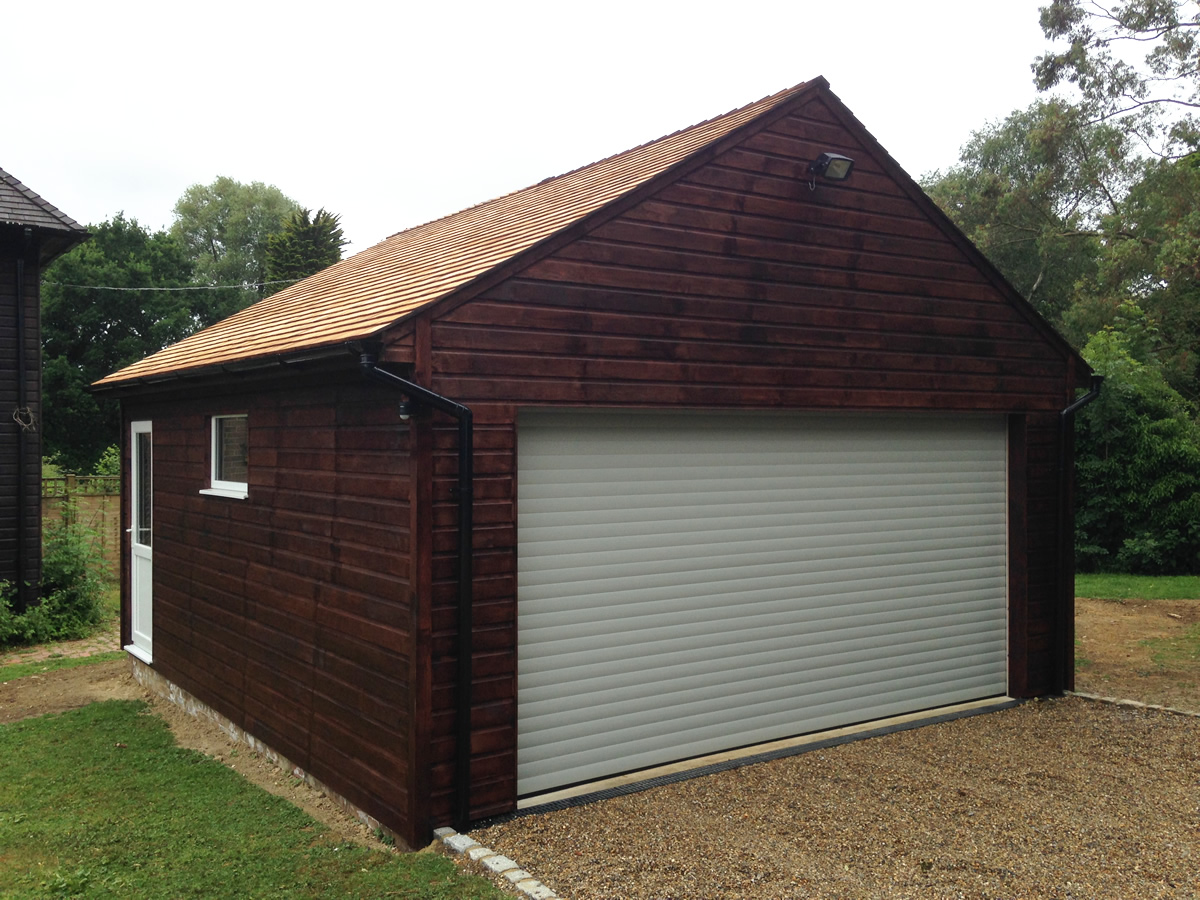 Stained double garage colt houses for Double garages